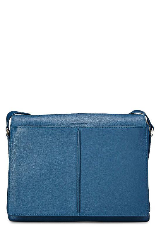 Homme Blue Leather Messenger Bag, , large image number 0
