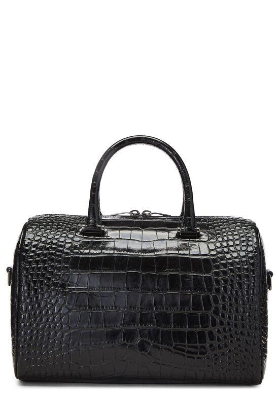 Black Embossed Leather Convertible Boston Bag, , large image number 4