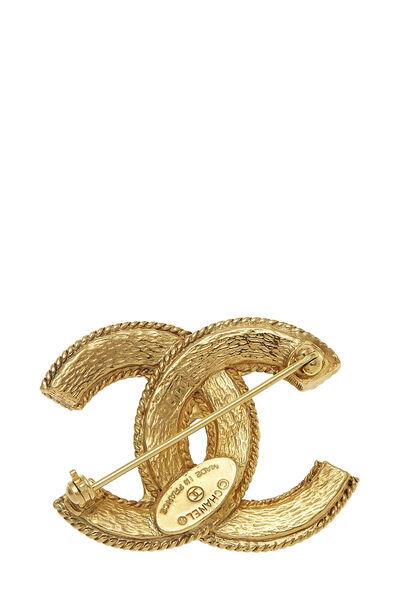 Gold Fretwork 'CC' Pin, , large