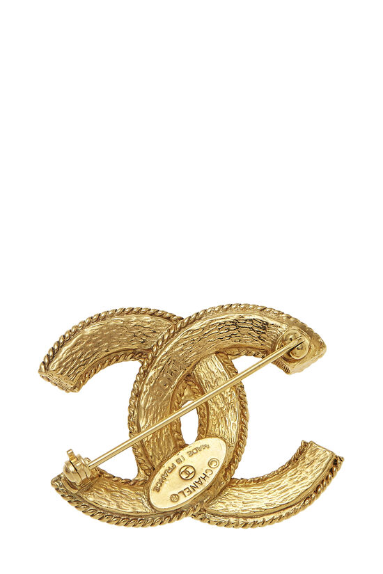 Gold Fretwork 'CC' Pin, , large image number 1