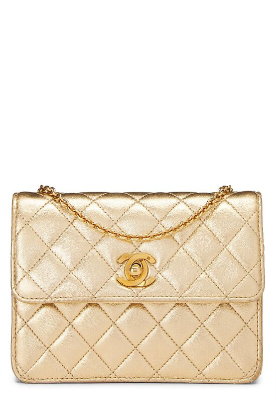 Metallic Gold Quilted Lambskin Half Flap Micro, , large image number 0