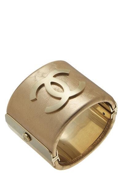 Gold Leather 'CC' Cuff
