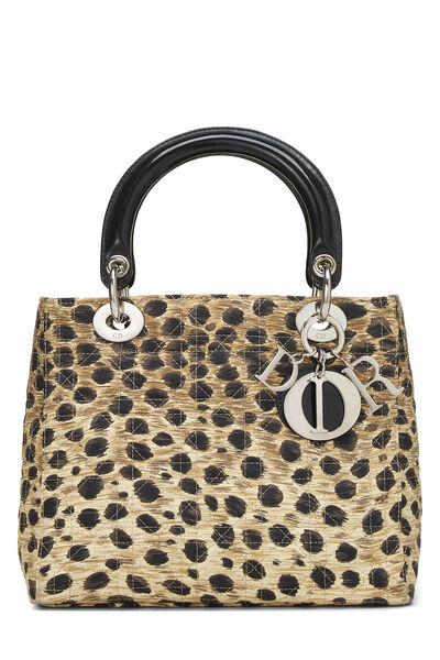 Brown Animal Print Cannage Quilted Nylon Lady Dior Medium