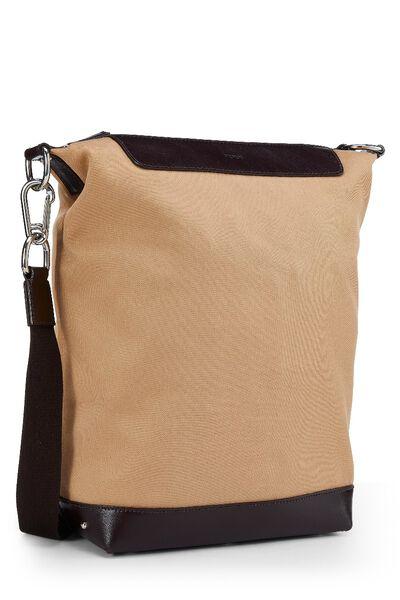 Beige Canvas Shoulder Bag, , large