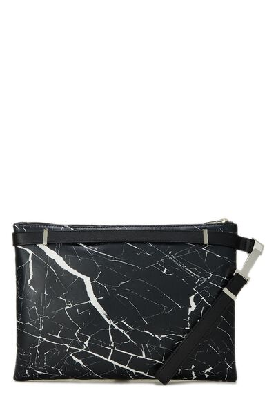 Black & White Marble Leather Phileas Clutch