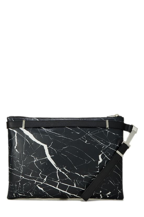 Black & White Marble Leather Phileas Clutch, , large image number 0