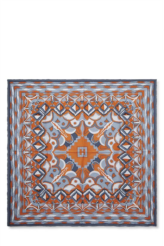Orange & Grey 'Ginza 2001' Silk Scarf 90, , large image number 0