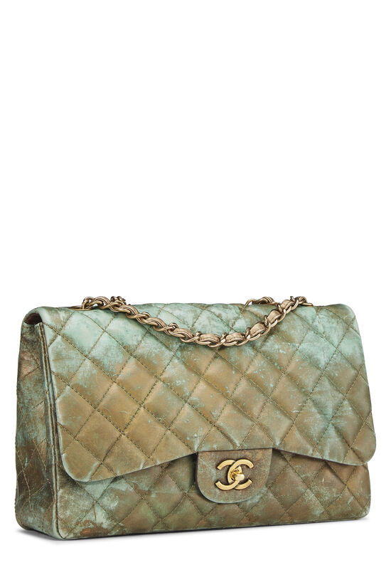 Green & Bronze Quilted Calfskin Half Flap Jumbo, , large image number 1