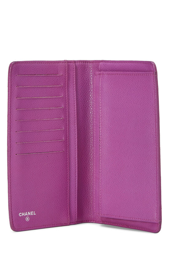Purple Quilted Caviar Yen Wallet, , large image number 3