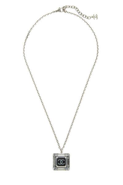 Silver & Black Crystal Acrylic Necklace