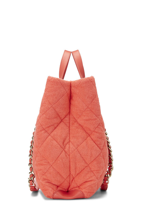 Orange Terry Cloth Coco Beach Shopping Bag, , large image number 3