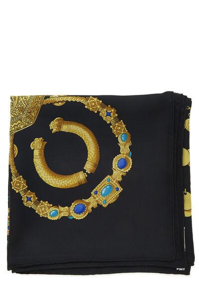 Black & Multicolor 'Kosmima' Silk Scarf 90, , large