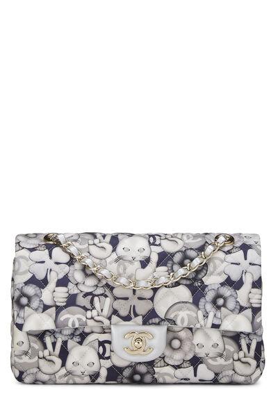 White & Grey Emoticon Nylon Classic Double Flap Medium