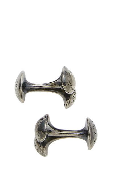 Silver Monogram Engraved Cufflinks, , large