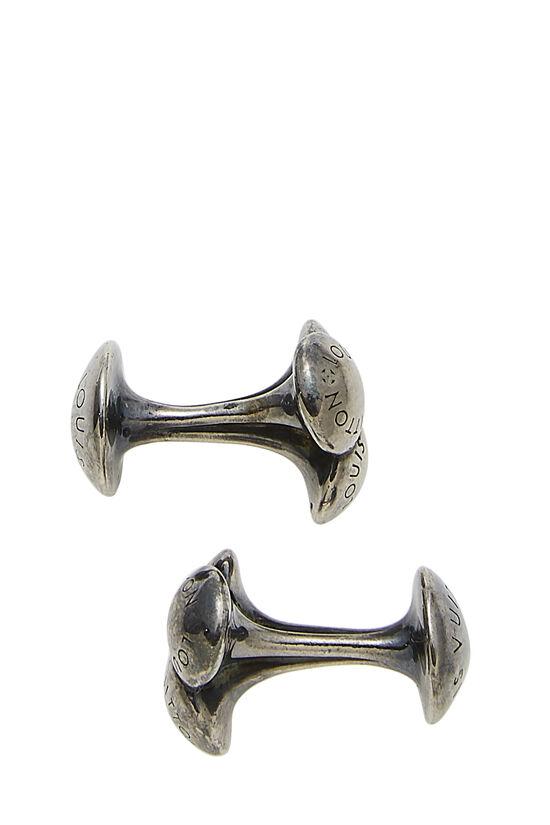 Silver Monogram Engraved Cufflinks, , large image number 1