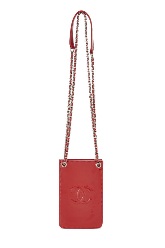 Red Patent Leather 'CC' Phone Holder, , large image number 1