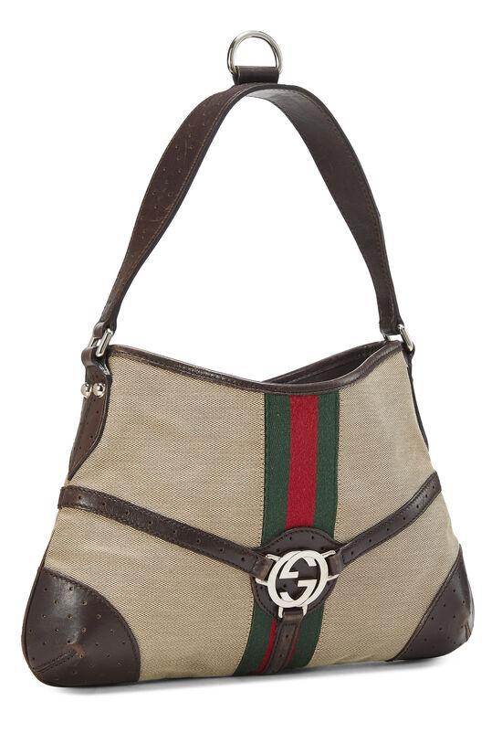 Beige Canvas Web Reins Shoulder Bag, , large image number 1
