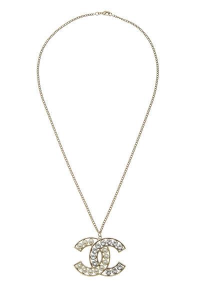 Gold & Faux Pearl 'CC' Necklace