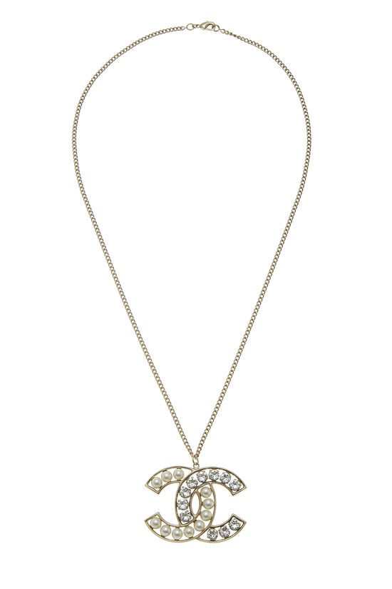 Gold & Faux Pearl 'CC' Necklace, , large image number 0