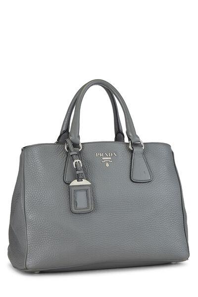 Grey Vitello Daino Handbag, , large