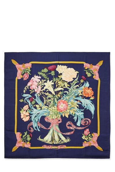 Navy & Multicolor 'Regina' Silk Scarf 90
