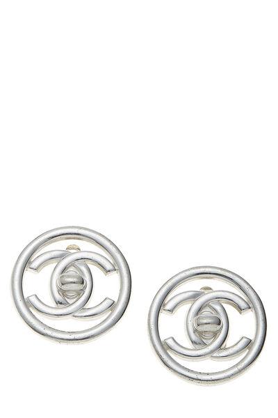 Silver 'CC' Turnlock Circle Earrings Medium
