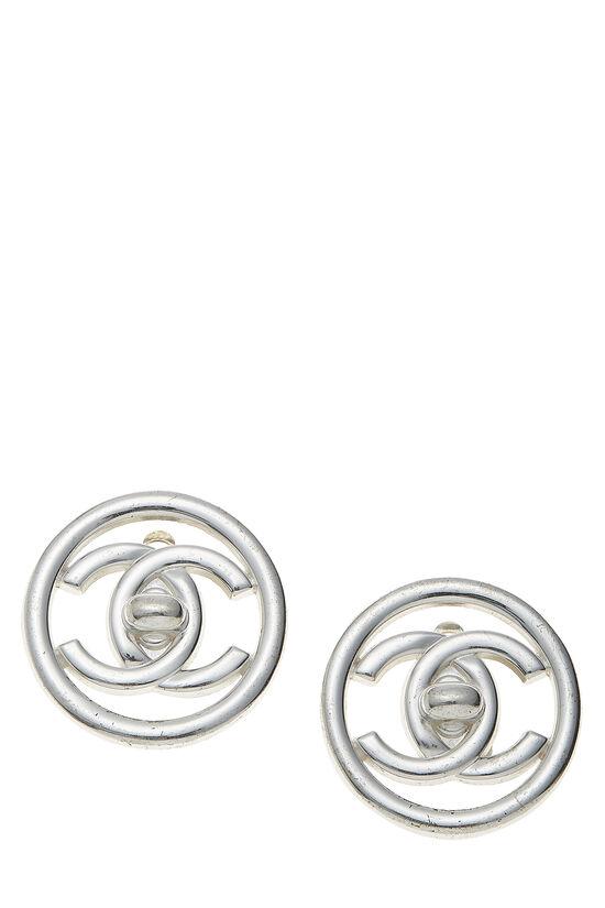 Silver 'CC' Turnlock Circle Earrings Medium, , large image number 0