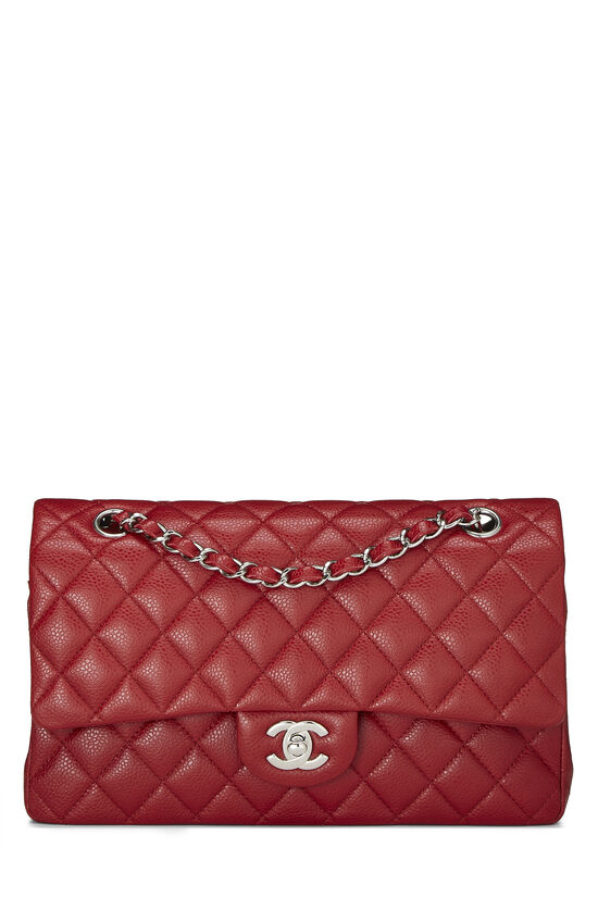 Red Quilted Caviar Classic Double Flap Medium, , large image number 0