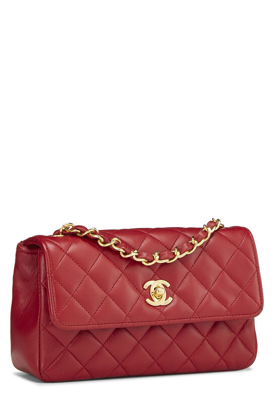 Red Quilted Lambskin Half Flap Mini, , large image number 1