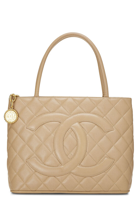 Beige Quilted Caviar Medallion Tote, , large image number 0