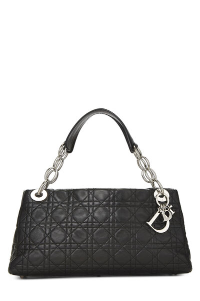 Black Cannage Quilted Lambskin East West