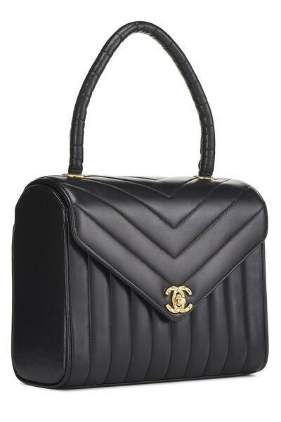 Black Chevron Lambskin Top Handle Bag Small, , large