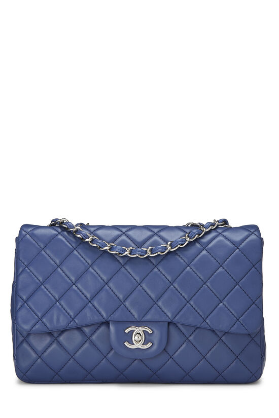 Blue Quilted Lambskin Classic Flap Jumbo, , large image number 0