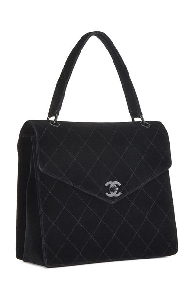So Black Quilted Velour Handle Bag, , large