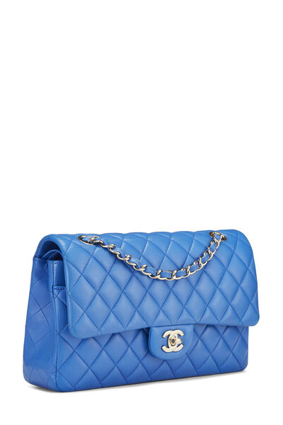 Blue Quilted Lambskin Classic Double Flap Medium, , large