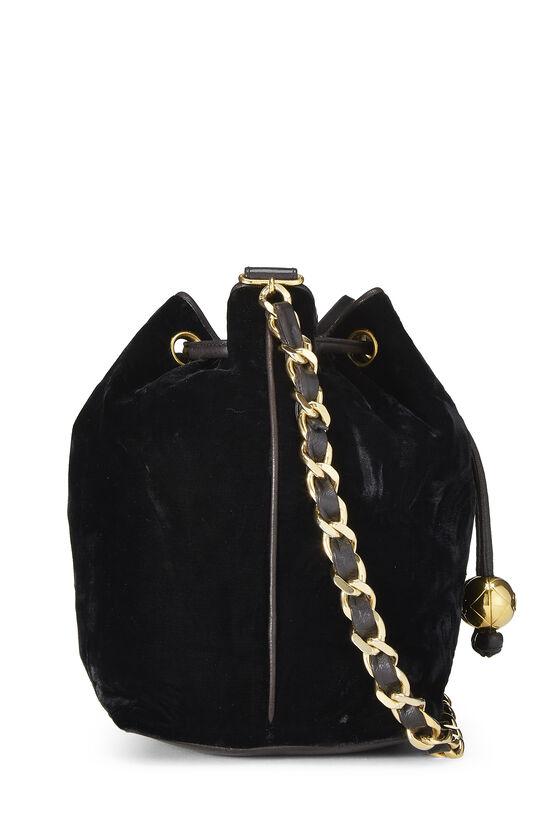 Black Velvet Bucket Bag Small, , large image number 2
