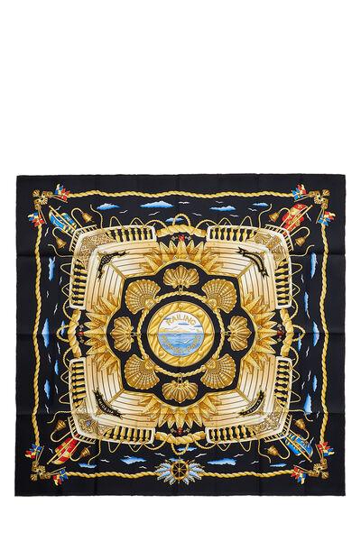 Black & Multicolor 'Railing' Silk Scarf 90