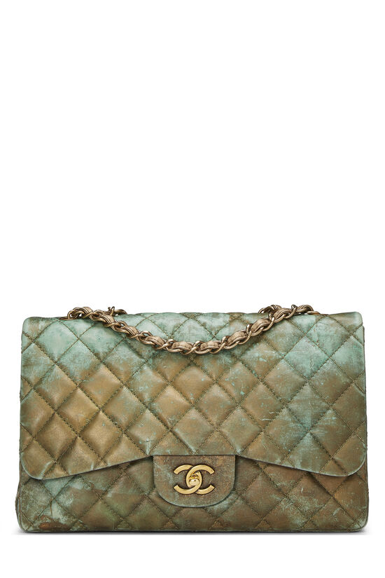 Green & Bronze Quilted Calfskin Half Flap Jumbo, , large image number 0
