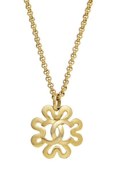 Gold Squiggle Border 'CC' Necklace, , large