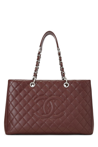 Burgundy Quilted Caviar Grand Shopping Tote (GST) XL