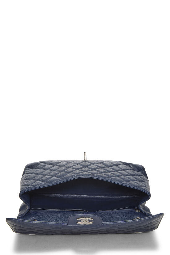 Navy Quilted Caviar Single Flap Maxi, , large image number 5