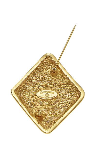 Gold 'CC' Diamond Shaped Pin, , large