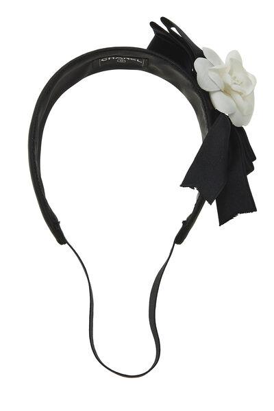 Black Satin Camellia Flower Headband