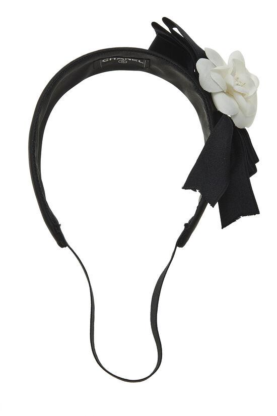 Black Satin Camellia Flower Headband, , large image number 0