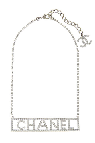 Silver Crystal Nameplate Necklace