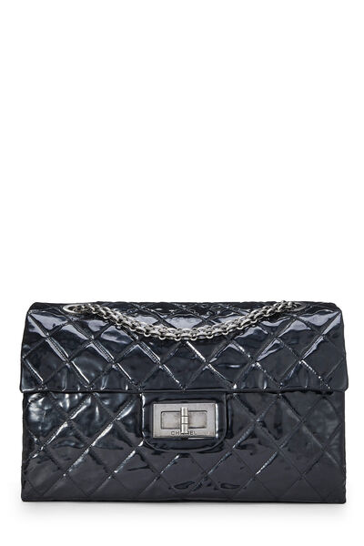 Black Quilted Patent Leather Reissue Flap Bag XL