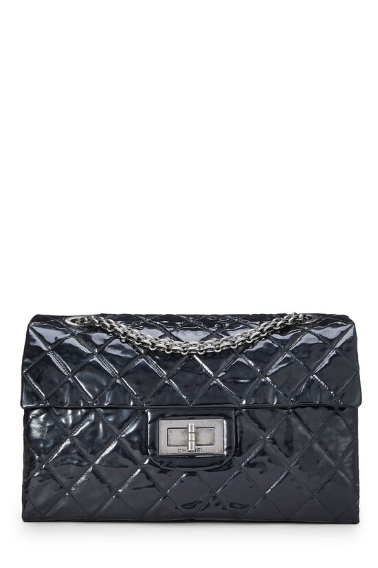 Black Quilted Patent Leather Reissue Flap Bag XL, , large image number 0
