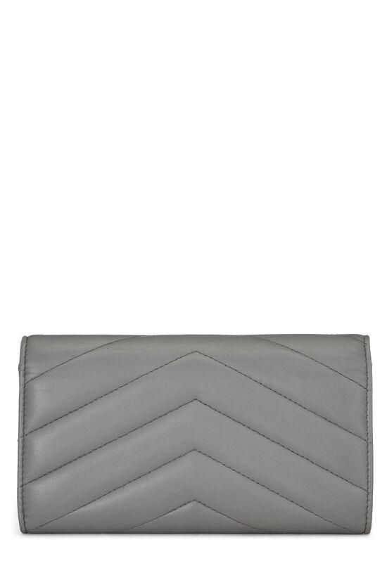 Grey Chevron Lambskin Envelope Wallet, , large image number 2