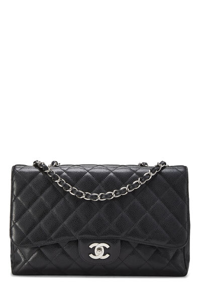 Black Quilted Caviar New Classic Flap Jumbo