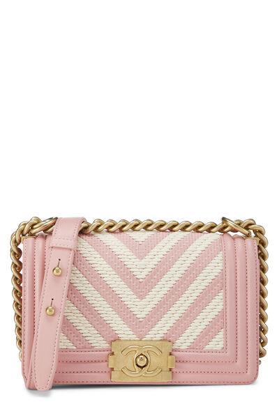 Pink Chevron Lambskin Boy Bag Small